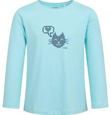 Bluzka z długim rękawem dla dziewczynki, z kotem, niebieska, 2-8 lat D04G076_1