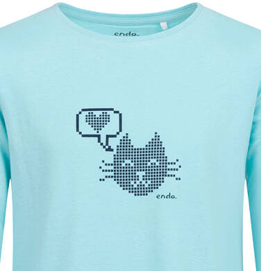 Endo - Bluzka z długim rękawem dla dziewczynki, z kotem, niebieska, 2-8 lat D04G076_1,2