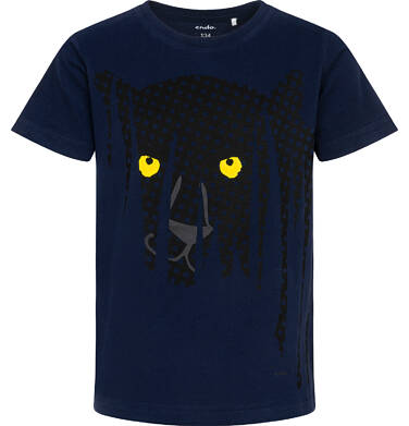 Endo - T-shirt z krótkim rękawem dla chłopca, z panterą, granatowy, 9-13 lat C06G092_1 226