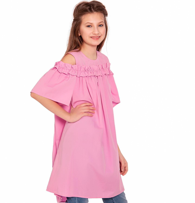 Endo - Koszulowa sukienka z odsłonietymi ramionami i falbanką, różowa, 2-8 lat D03H027_2