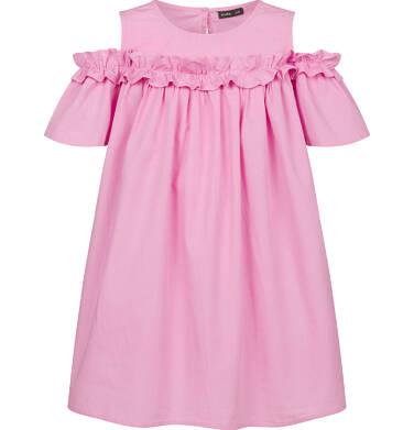 Endo - Koszulowa sukienka z odsłonietymi ramionami i falbanką, różowa, 2-8 lat D03H027_2 4