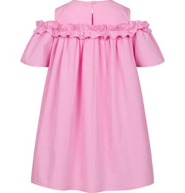 Endo - Koszulowa sukienka z odsłonietymi ramionami i falbanką, różowa, 2-8 lat D03H027_2,3
