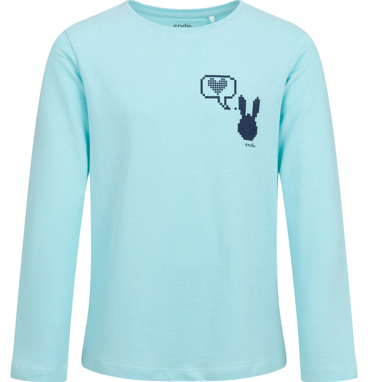 Endo - Bluzka z długim rękawem dla dziewczynki, z drobnym nadrukiem, niebieska, 9-13 lat D04G079_1