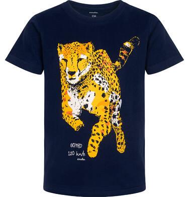 Endo - T-shirt z krótkim rękawem dla chłopca, z gepardem, granatowy, 9-13 lat C06G093_1 221