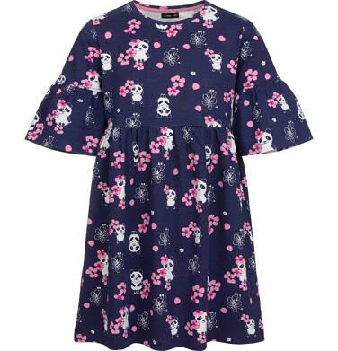 Sukienka z krótkim rękawem, deseń w pandy, rozszerzane rękawy, 2-8 lat D03H001_1