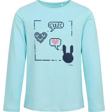 Endo - Bluzka z długim rękawem dla dziewczynki, z pixelami, niebieska, 9-13 lat D04G084_1 16