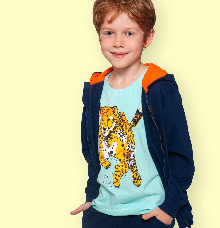 Endo - T-shirt z krótkim rękawem dla chłopca, z gepardem, niebieski, 9-13 lat C06G093_2