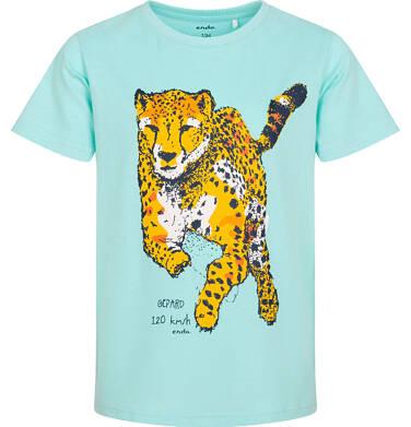Endo - T-shirt z krótkim rękawem dla chłopca, z gepardem, niebieski, 9-13 lat C06G093_2 220