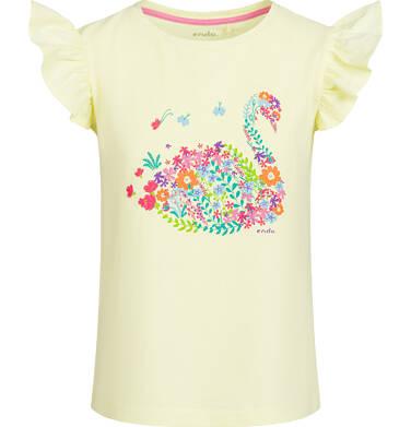 Endo - Bluzka z krótkim rękawem dla dziewczynki, z łabędziem, żółta, 9-13 lat D03G597_1 275