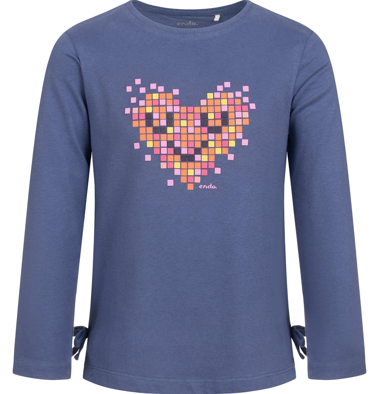 Endo - Bluzka z długim rękawem dla dziewczynki, z sercem, fioletowa, 2-8 lat D04G094_1