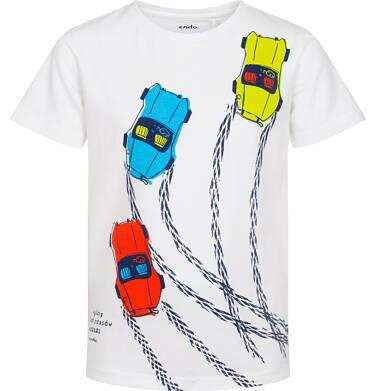 Endo - T-shirt z krótkim rękawem dla chłopca, z samochodami wyścigowymi, biały, 9-13 lat C06G100_1 219