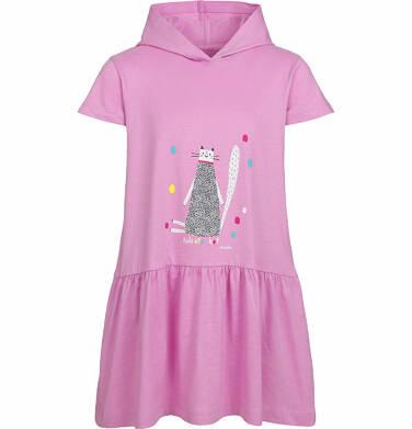 Endo - Sukienka z kapturem i krótkim rękawem, z motywem kota, różowa, 2-8 lat D03H014_1