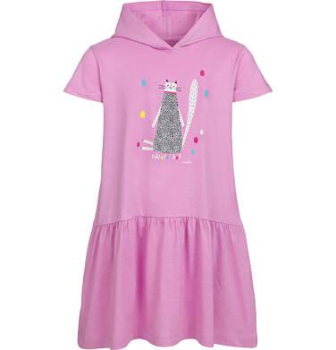 Sukienka z kapturem i krótkim rękawem, z motywem kota, różowa, 2-8 lat D03H014_1