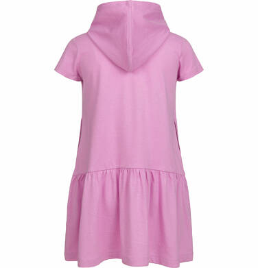 Endo - Sukienka z kapturem i krótkim rękawem, z motywem kota, różowa, 2-8 lat D03H014_1,2