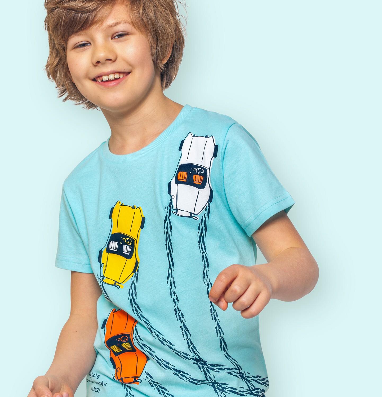 Endo - T-shirt z krótkim rękawem dla chłopca, z samochodami wyścigowymi, niebieski, 9-13 lat C06G100_2