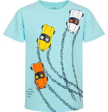 Endo - T-shirt z krótkim rękawem dla chłopca, z samochodami wyścigowymi, niebieski, 9-13 lat C06G100_2 218