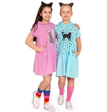 Endo - Sukienka z kapturem i krótkim rękawem, z motywem kota, różowa, 9-13 lat D03H514_1