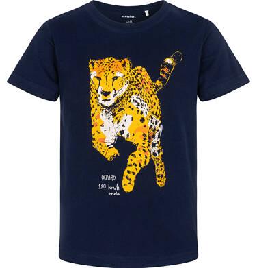 Endo - T-shirt z krótkim rękawem dla chłopca, z gepardem, granatowy, 3-8 lat C06G107_1 11