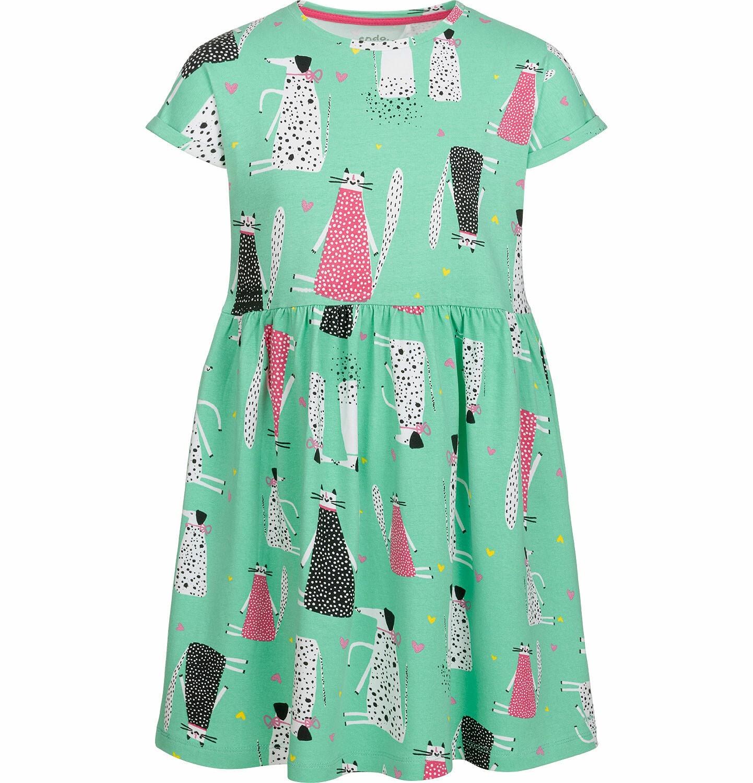 Endo - Luźna sukienka z krótkim rękawem, deseń w psy i koty, zielona, 2-8 lat D03H035_1