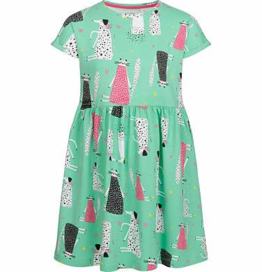 Luźna sukienka z krótkim rękawem, deseń w psy i koty, zielona, 2-8 lat D03H035_1