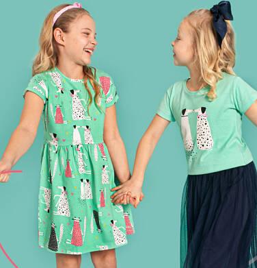 Endo - Luźna sukienka z krótkim rękawem, deseń w psy i koty, zielona, 2-8 lat D03H035_1 10