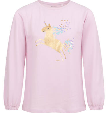 Bluzka z długim rękawem dla dziewczynki, z jednorożcem, różowa, 2-8 lat D04G122_2