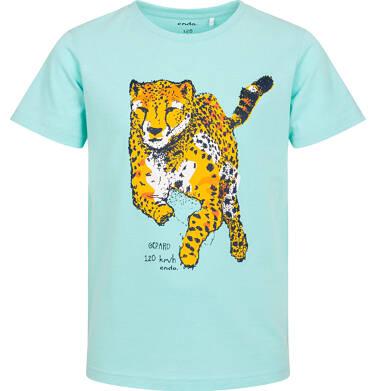 Endo - T-shirt z krótkim rękawem dla chłopca, z gepardem, niebieski, 3-8 lat C06G107_2 14