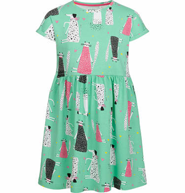 Luźna sukienka z krótkim rękawem, deseń w psy i koty, zielona, 9-13 lat D03H535_1