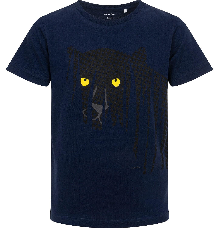 Endo - T-shirt z krótkim rękawem dla chłopca, z panterą, granatowy, 3-8 lat C06G110_1