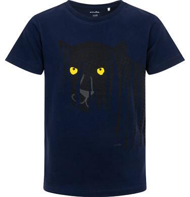 Endo - T-shirt z krótkim rękawem dla chłopca, z panterą, granatowy, 3-8 lat C06G110_1 32
