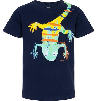 Endo - T-shirt z krótkim rękawem dla chłopca, z salamandrą, granatowy, 2-8 lat C06G113_1 10