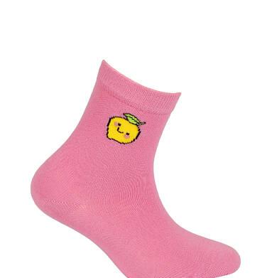 Endo - Różowe skarpetki dziecięce z cytrynką D05P013_1 2