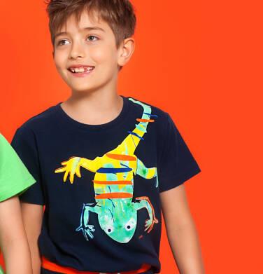 Endo - T-shirt z krótkim rękawem dla chłopca, z salamandrą, granatowy, 9-13 lat C06G121_1 237