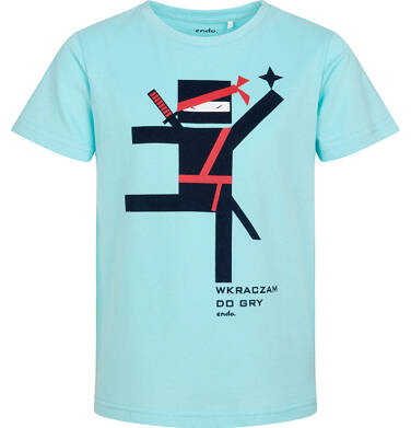 Endo - T-shirt z krótkim rękawem dla chłopca, motyw ninja, niebieski, 3-8 lat C06G125_1 9