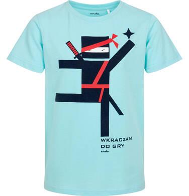 Endo - T-shirt z krótkim rękawem dla chłopca, motyw ninja, niebieski, 9-13 lat C06G126_1 236