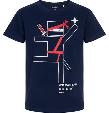 Endo - T-shirt z krótkim rękawem dla chłopca, motyw ninja, granatowy, 9-13 lat C06G126_2 235