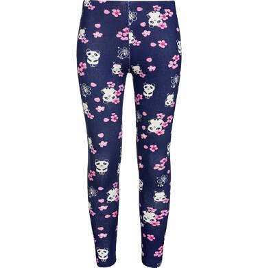 Endo - Legginsy dla dziewczynki, deseń w pandy, granatowe, 2-8 lat D03K008_1