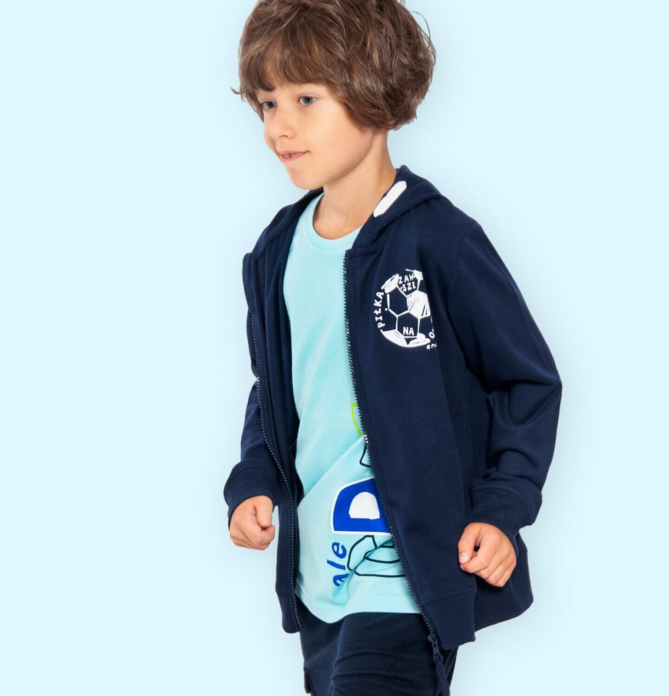 Endo - Rozpinana bluza z kapturem dla chłopca, z piłką nożną na piersi, granatowa, 9-13 lat C05C006_1