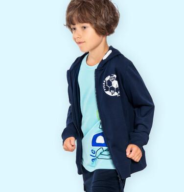 Rozpinana bluza z kapturem dla chłopca, z piłką nożną na piersi, granatowa, 9-13 lat C05C006_1