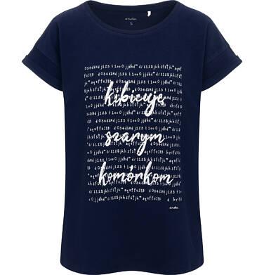 Endo - T-shirt damski, z napisem kibicuję szarym komórkom, granatowy Y06G009_1 12