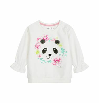 Bluza dresowa dla dziecka do 2 lat, z pandą i falbanką na rękawach, porcelanowa N03C017_1