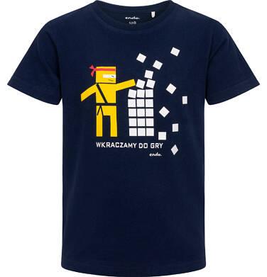 Endo - T-shirt z krótkim rękawem dla chłopca, motyw ninja, granatowy, 3-8 lat C06G131_1 12