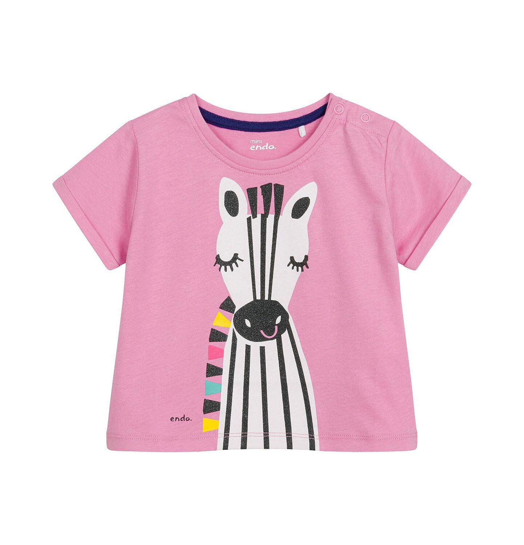 Endo - Bluzka z krótkim rękawem dla dziecka do 2 lat, z zebrą, różowa N03G020_1