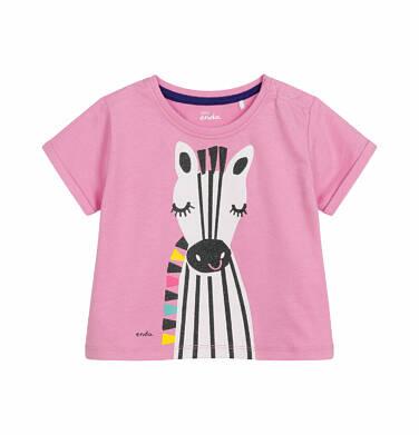 Endo - Bluzka z krótkim rękawem dla dziecka do 2 lat, z zebrą, różowa N03G020_1 32