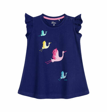 Endo - Sukienka z krótkim rękawem dla dziewczynki do 2 lat, w kolorowe żurawie, granatowa N03H001_1 21