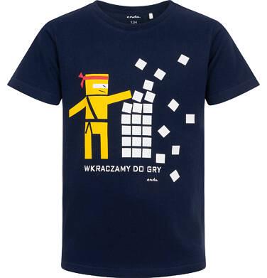 Endo - T-shirt z krótkim rękawem dla chłopca, motyw ninja, granatowy, 9-13 lat C06G135_1 234