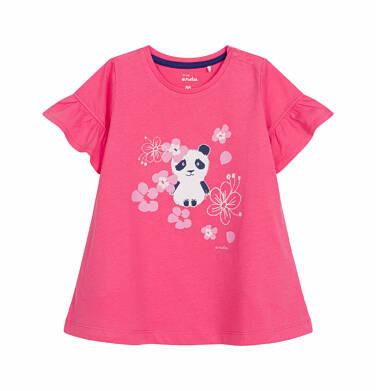 Endo - Sukienka z krótkim rękawem dla dziewczynki do 2 lat, z pandą, różowa N03H002_1