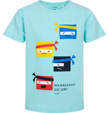 Endo - T-shirt z krótkim rękawem dla chłopca, motyw ninja, niebieski, 9-13 lat C06G138_1 233