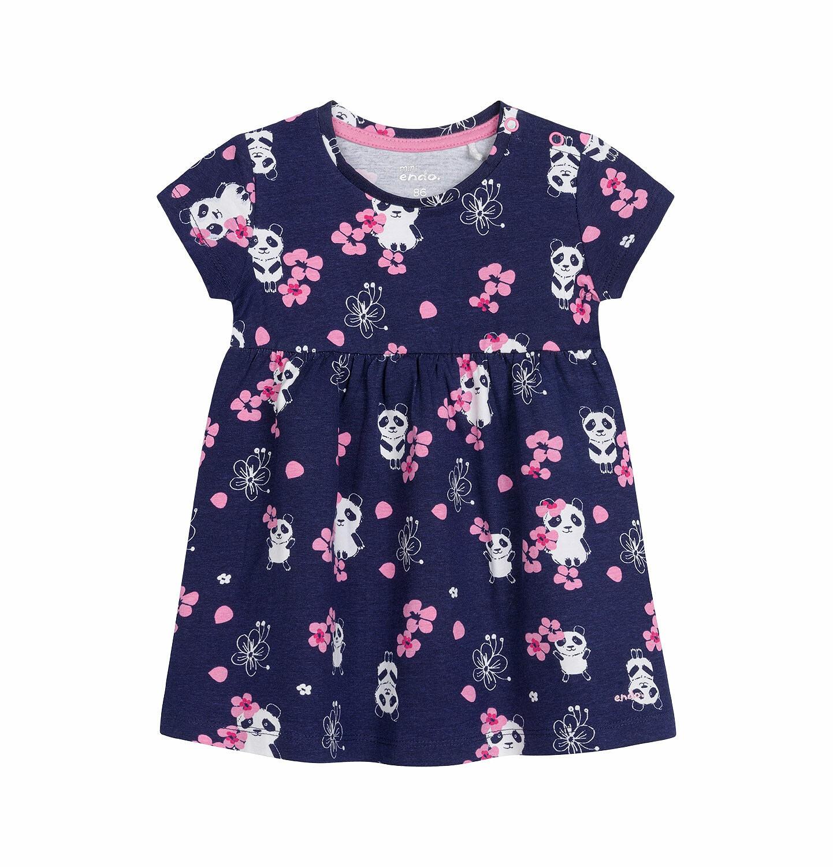 Endo - Sukienka z krótkim rękawem dla dziewczynki do 2 lat, deseń w pandy, granatowa N03H021_1