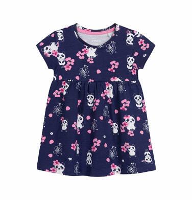 Sukienka z krótkim rękawem dla dziewczynki do 2 lat, deseń w pandy, granatowa N03H021_1
